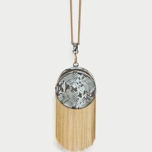 Zara Snake Print Circle Bag with Gold Fringe